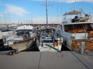 Our rather tight berth in Barcelona